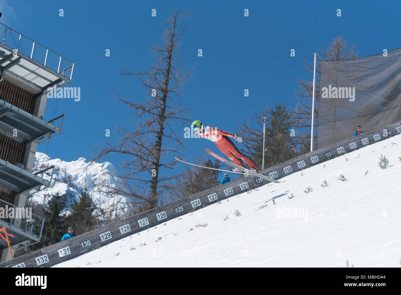 PLANICA, SLOVENIA - MARCH 24 2018 : Fis World Cup Ski Jumping Final - RHOADS William USA - Stock Image