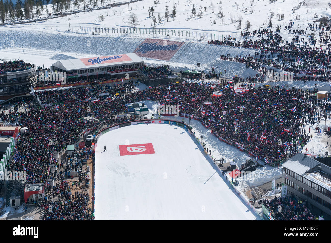 PLANICA, SLOVENIA - MARCH 24 2018 : Fis World Cup Ski Jumping Final - fans - Stock Image