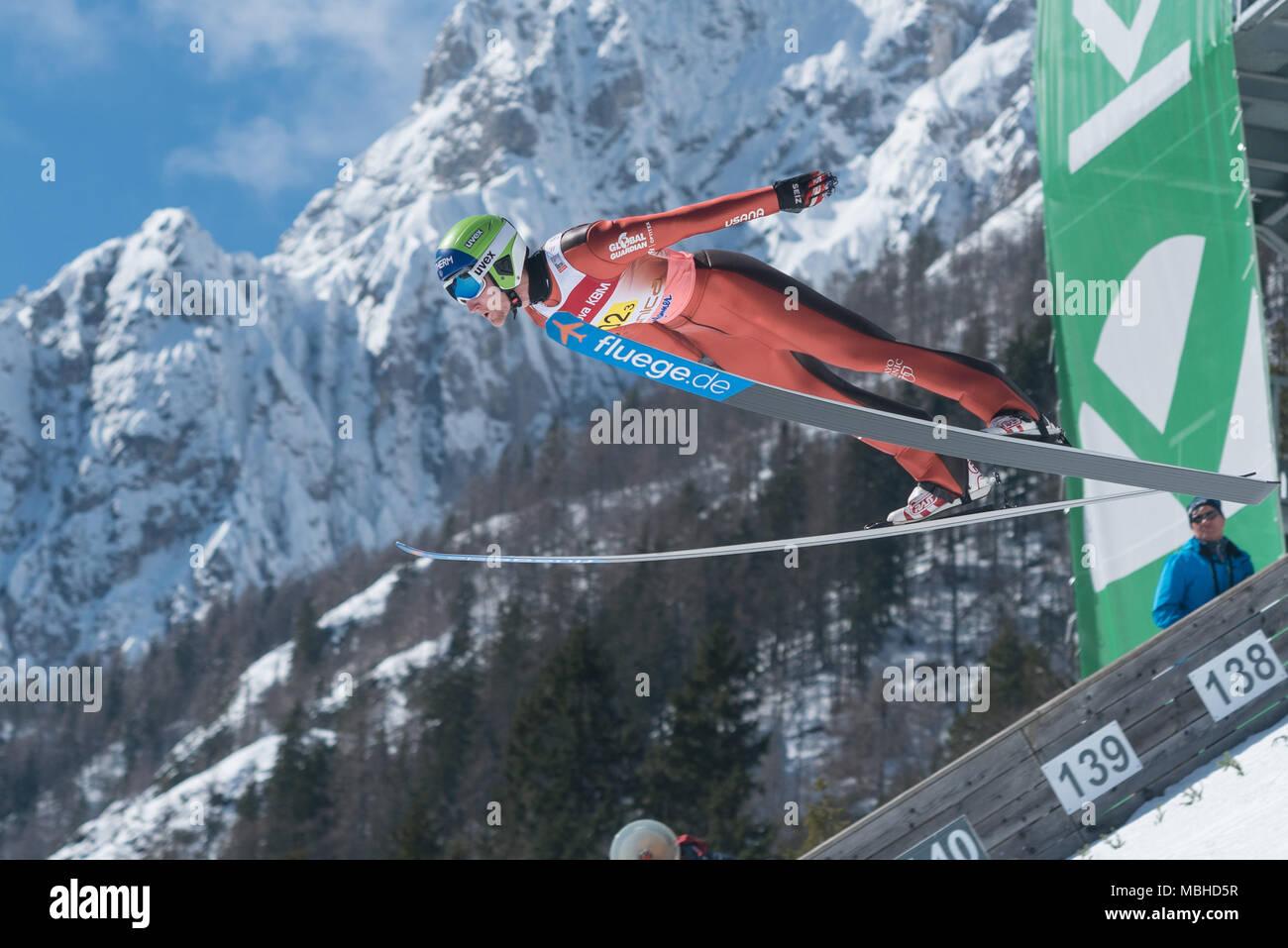 PLANICA, SLOVENIA - MARCH 24 2018 : Fis World Cup Ski Jumping Final - GLASDER Michael USA - Stock Image