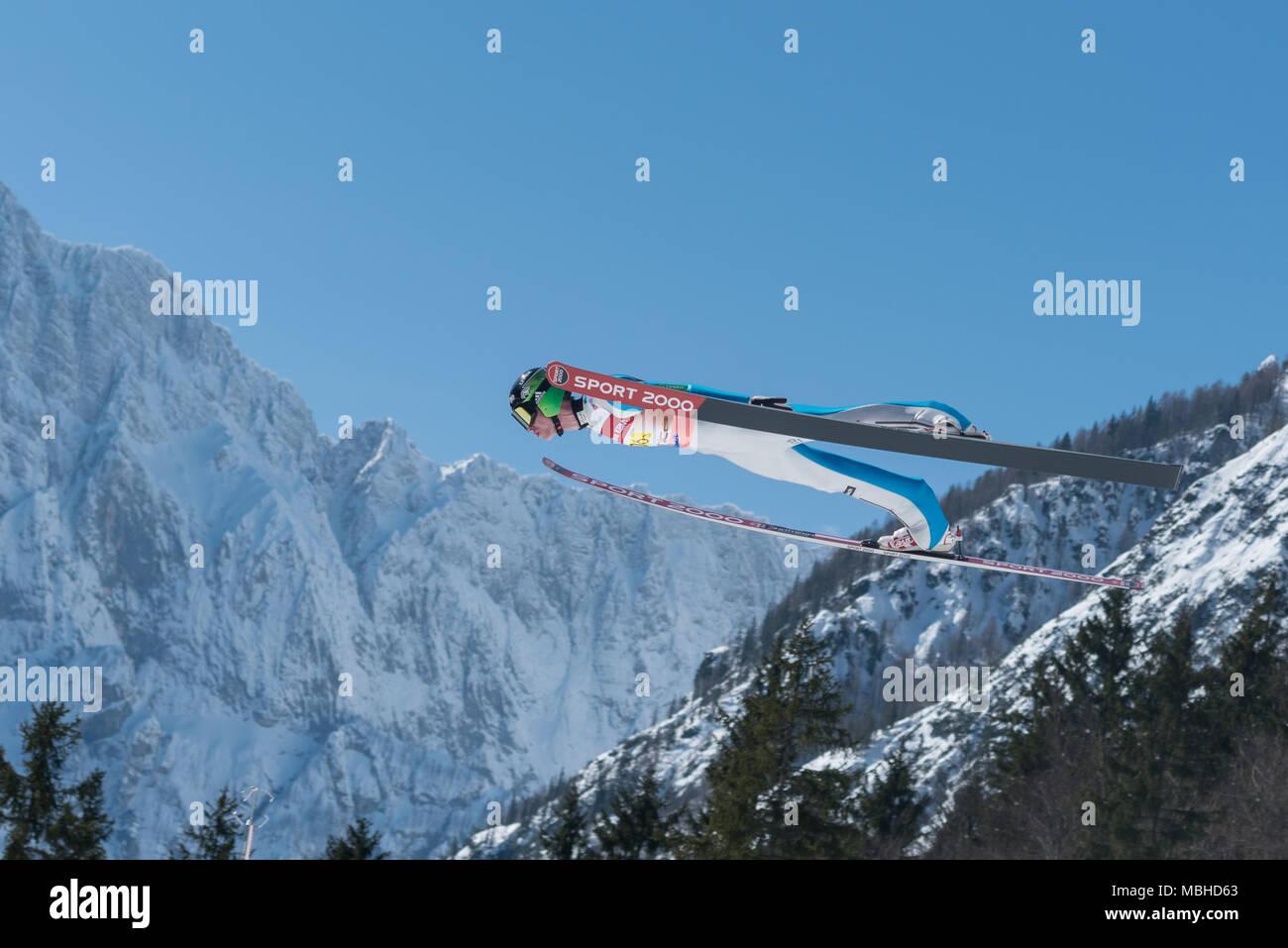 PLANICA, SLOVENIA - MARCH 24 2018 : Fis World Cup Ski Jumping Final - SEMENIC Anze SLO - Stock Image