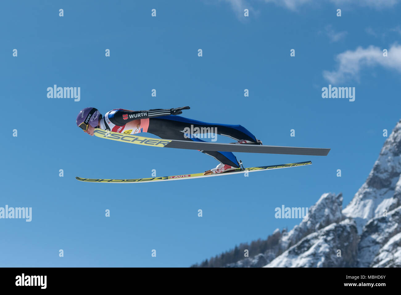 PLANICA, SLOVENIA - MARCH 24 2018 : Fis World Cup Ski Jumping Final - WELLINGER Andreas GER - Stock Image