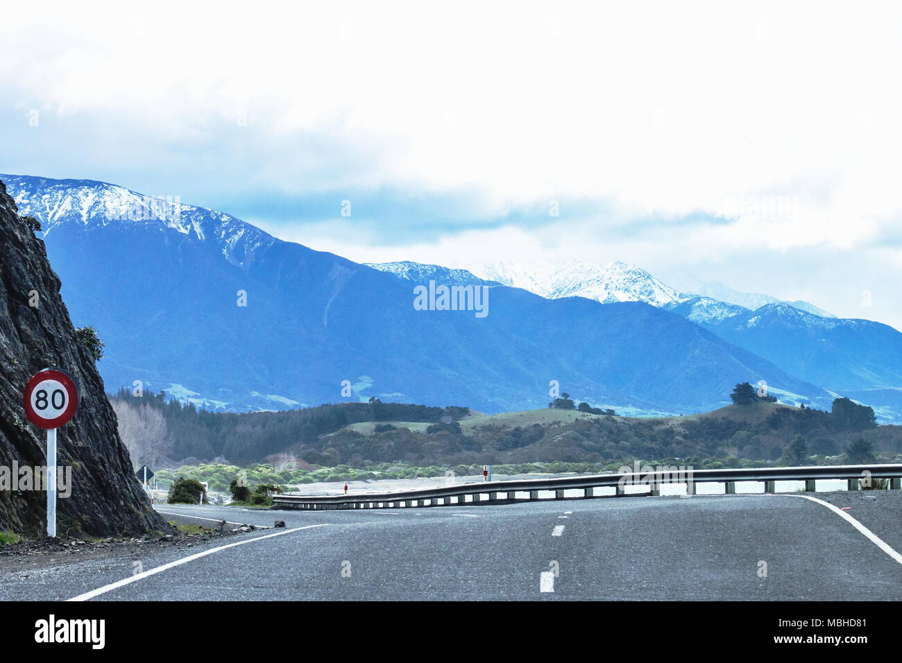 Road travelling the Kaikoura Coast of New Zealand on State Highway One prior to the 2016 earthquake. - Stock Image