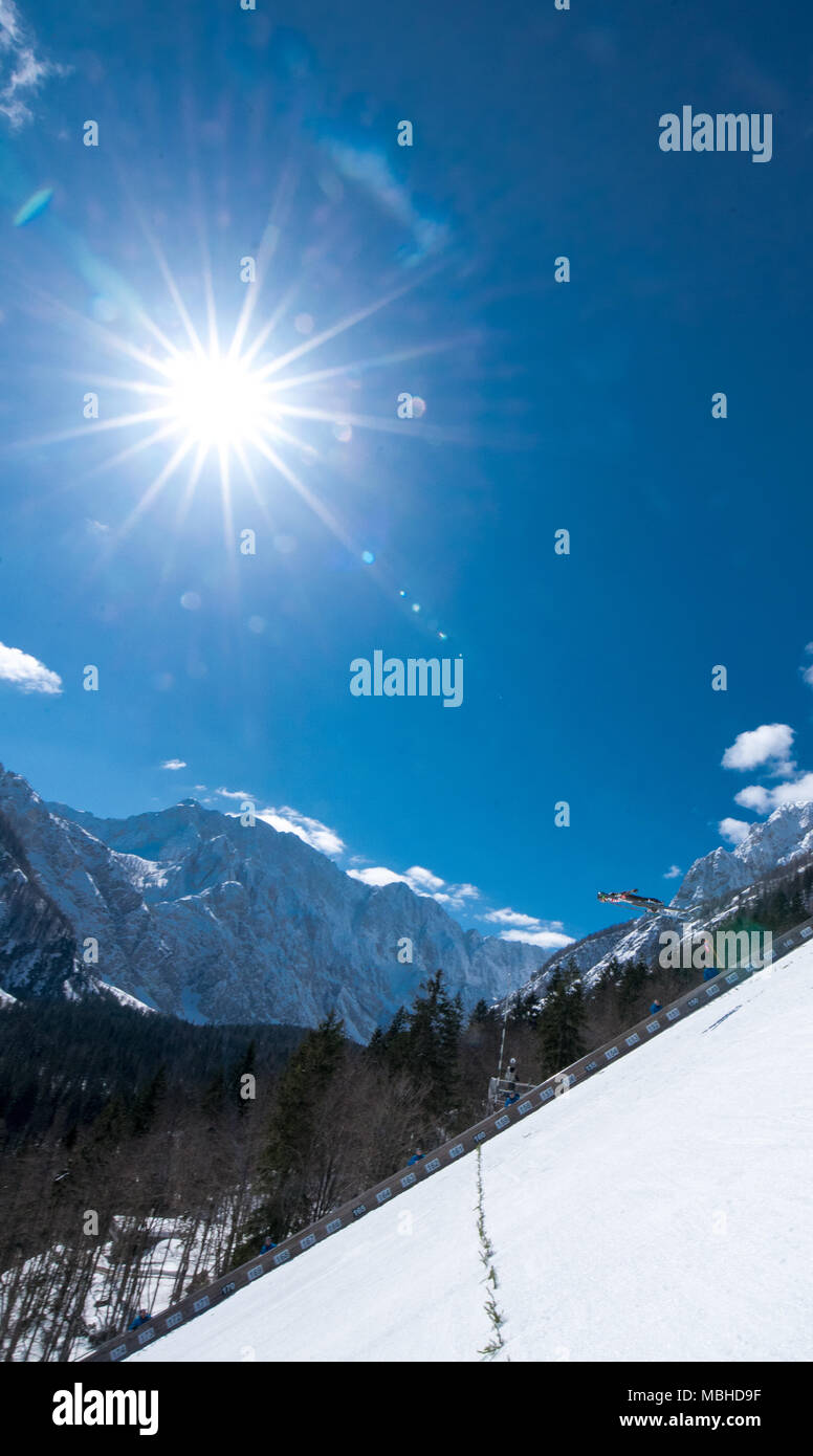 PLANICA, SLOVENIA - MARCH 24 2018 : Fis World Cup Ski Jumping Final - Hill and sun - Stock Image