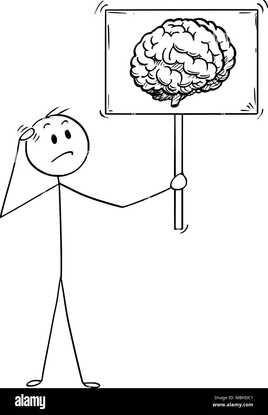 Cartoon of Unsure Man or Businessman Holding Sign with Brain Image Symbol - Stock Image