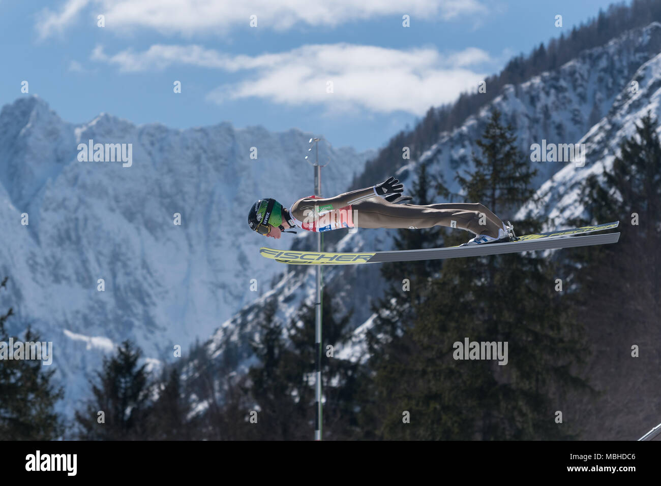 PLANICA, SLOVENIA - MARCH 24 2018 : Fis World Cup Ski Jumping Final - PREVC Peter SLO - Stock Image