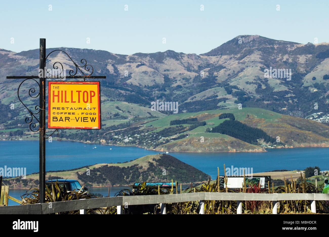 View from the Hilltop Tavern looking out over Akaroa Harbour in Banks Peninsular New Zealand - Stock Image