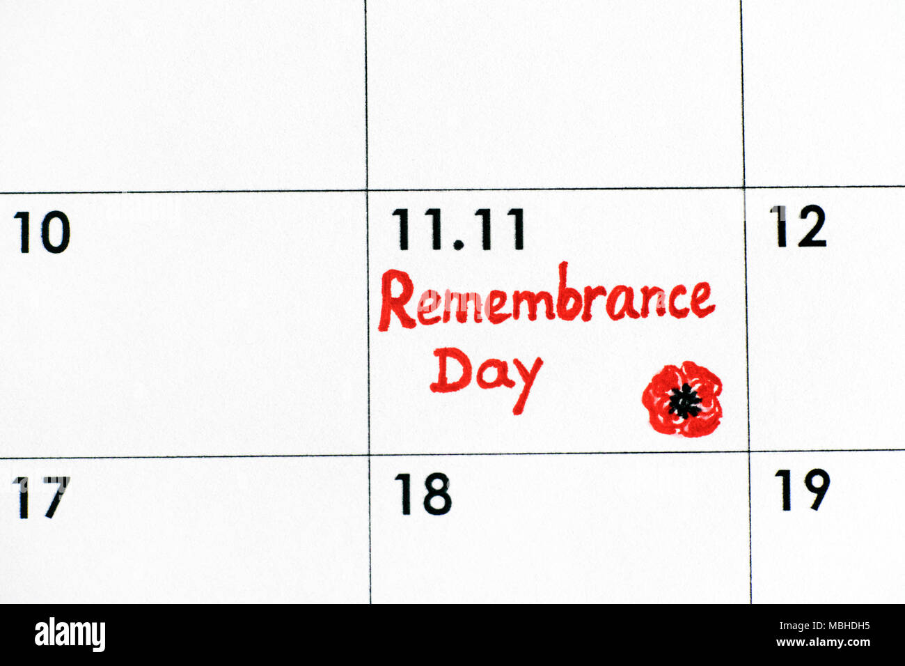 Reminder Remembrance Day in calendar. Close-up. - Stock Image