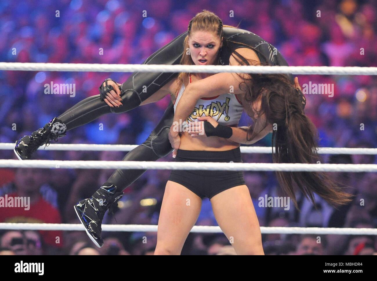 WrestleMania 34: Ronda Rousey And Kurt Angle Vs. Triple H