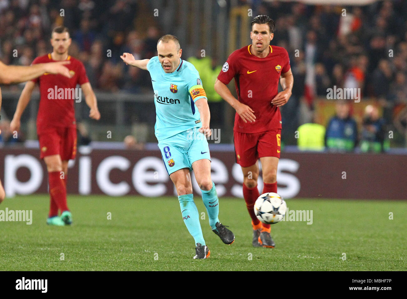 eb0cbc0b Andres Iniesta during fotball match UEFA Champions League football, quarter  final, second leg; AS Roma versus FC Barcelona; at the Olimpic Stadium in  Rome.