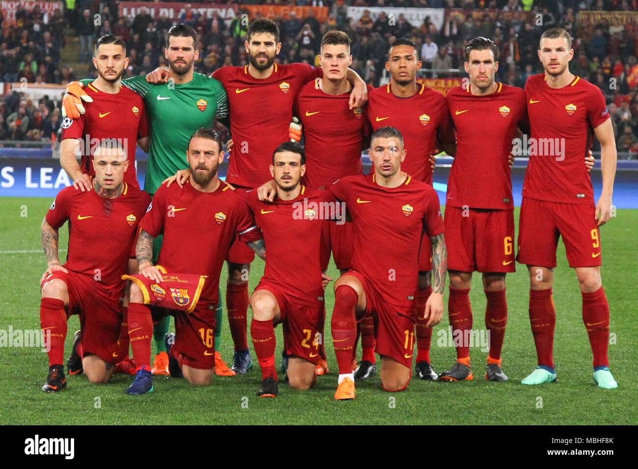 55d92b52 As Roma Players during fotball match UEFA Champions League football,  quarter final, second leg; AS Roma versus FC Barcelona; at the Olimpic  Stadium in Rome.