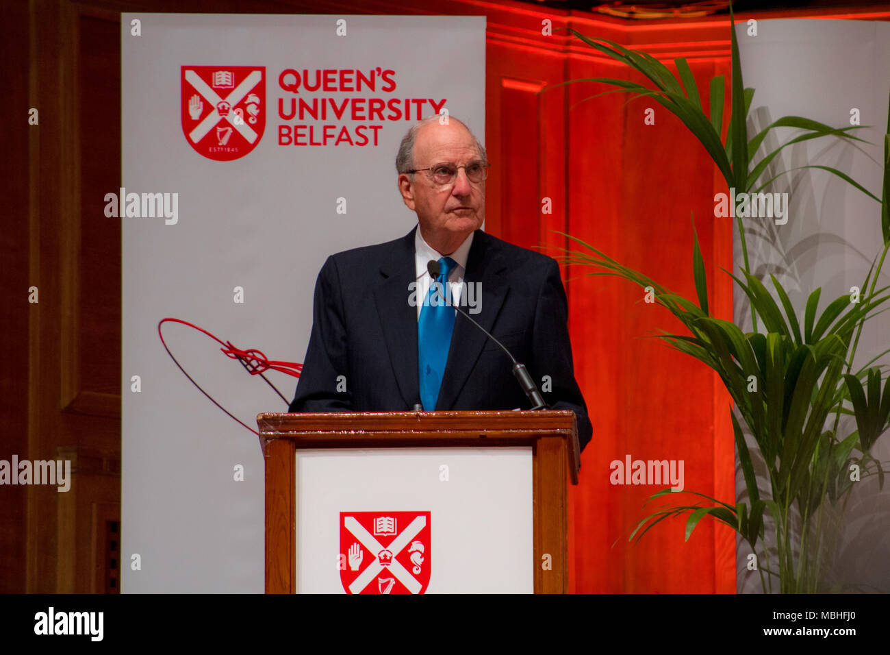 Belfast, Northern Ireland. 10th April, 2018. Building Peace Event celebrating the 20th Anniversary of the Good Friday Agreement in Belfast, Northern Ireland, United Kingdom at Queen's University with Bill Clinton, Tony Blair, Bertie Ahern and Senator George J Mitchell Credit: Daniel Bradley/Alamy Live News Stock Photo