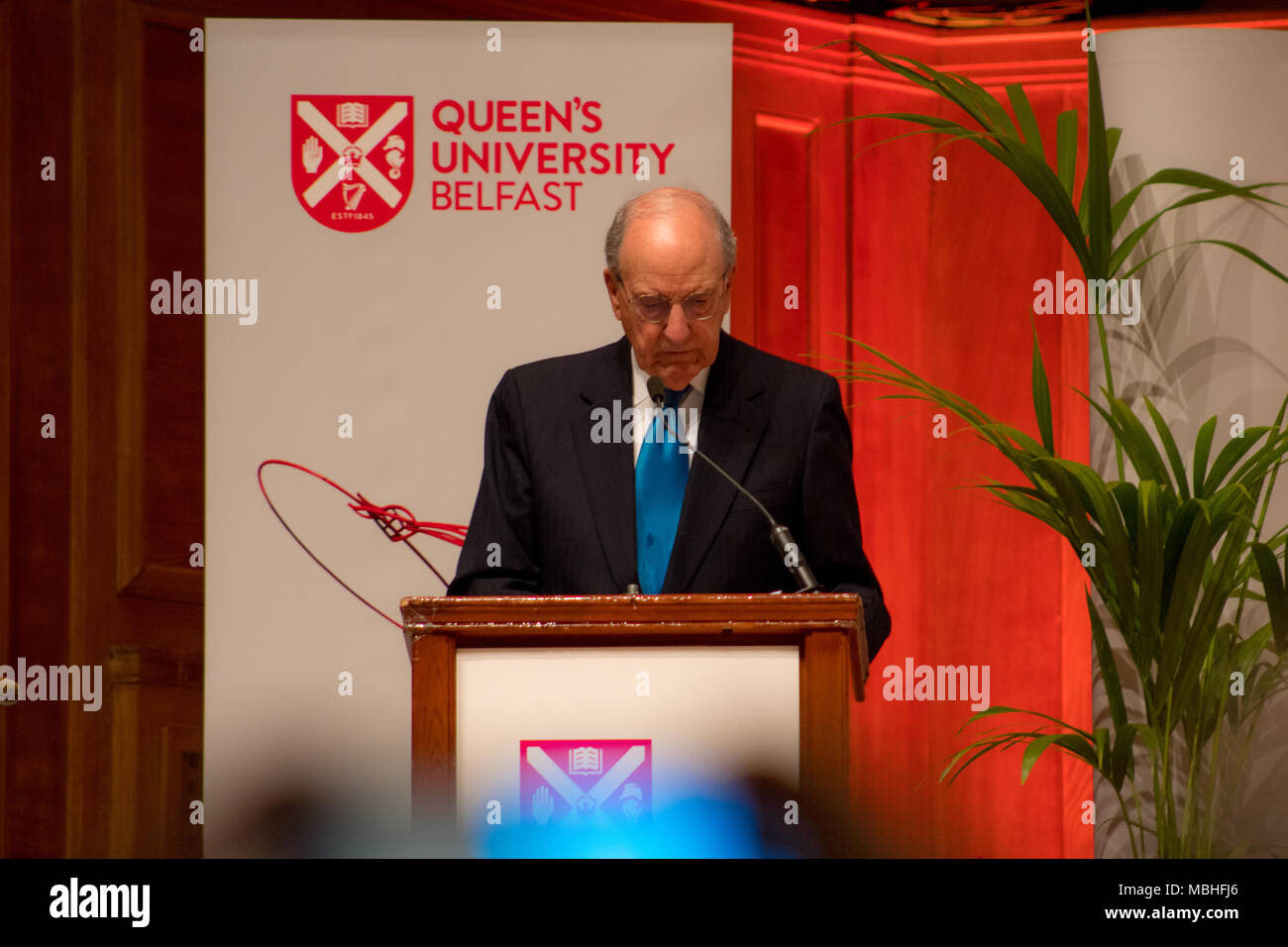 Belfast, Northern Ireland. 10th April, 2018. Building Peace Event celebrating the 20th Anniversary of the Good Friday Agreement in Belfast, Northern Ireland, United Kingdom at Queen's University with Bill Clinton, Tony Blair, Bertie Ahern and Senator George J Mitchell Credit: Daniel Bradley/Alamy Live News - Stock Image