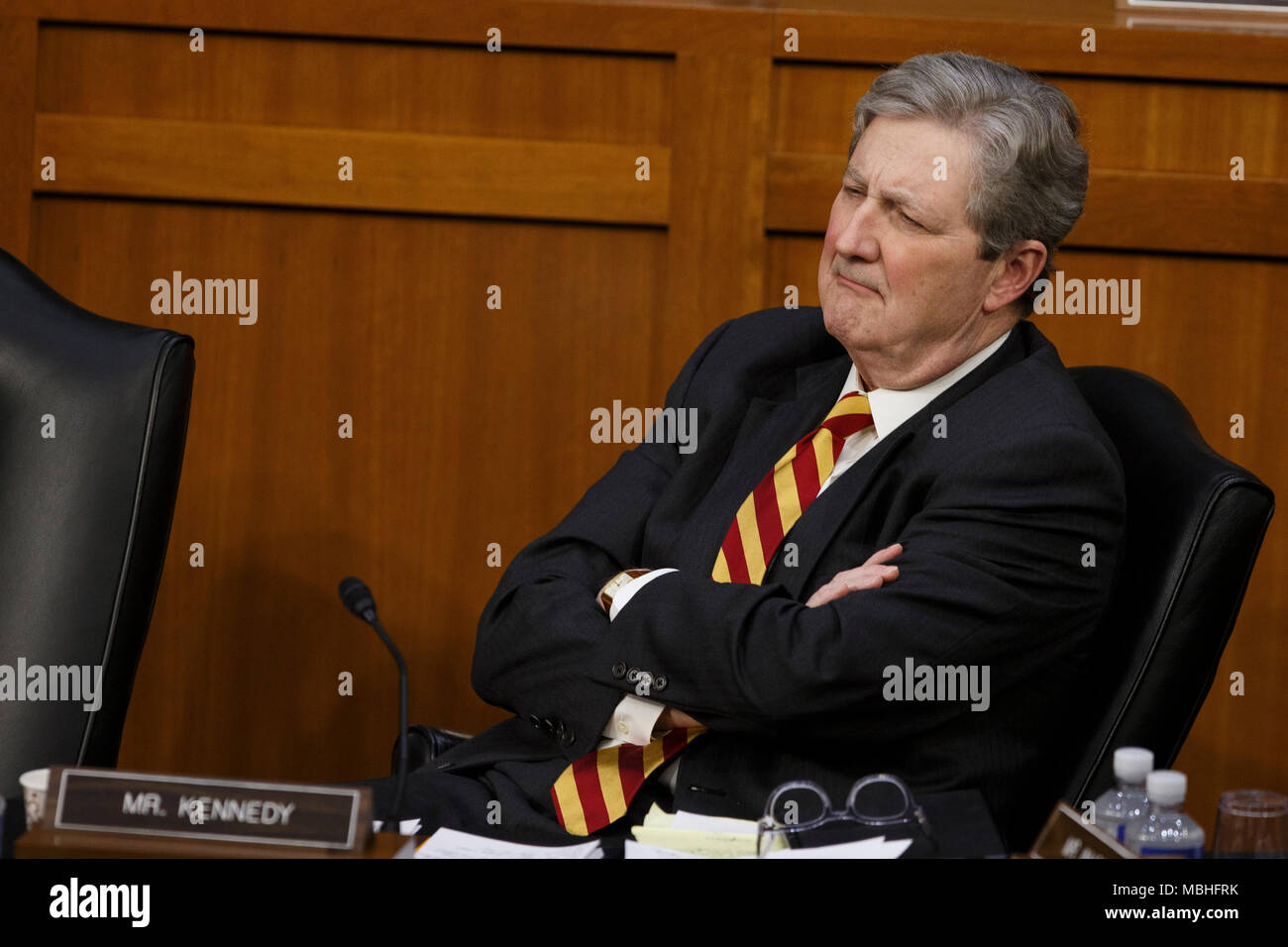 Washington, USA. 10th Apr, 2018. Senator John Kennedy, Republican of Louiasana listens Facebook CEO Mark Zuckerberg testifies before the United States Senate on Capitol Hill in Washington, DC on April 10, 2018. Credit: The Photo Access/Alamy Live News - Stock Image