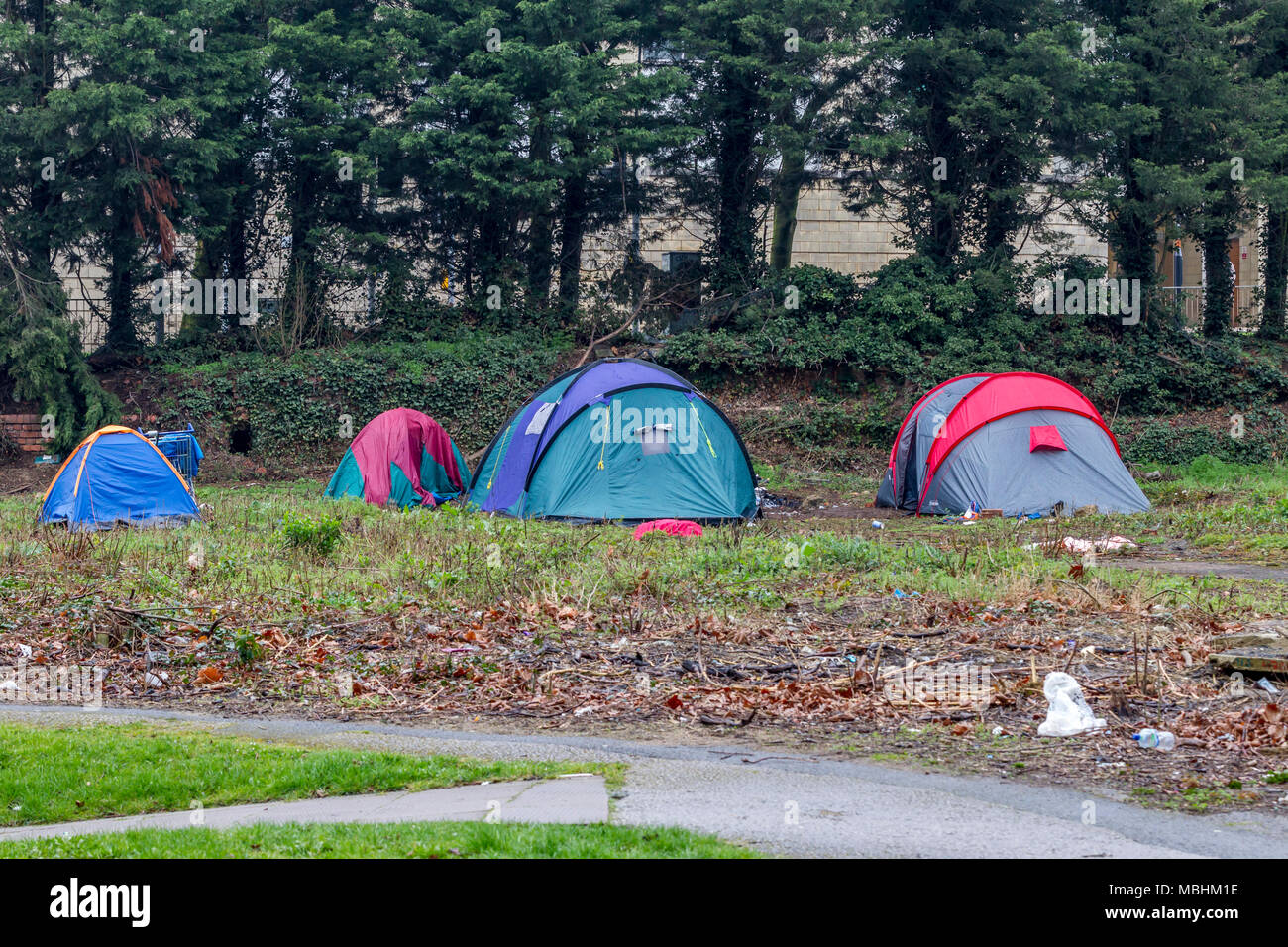 Northampton. 11th Apr, 2018. UK Weather: Another dull miserable day for the homeless having to live in tents on derelick ground near the town centre. Credit: Keith J Smith./Alamy Live News - Stock Image