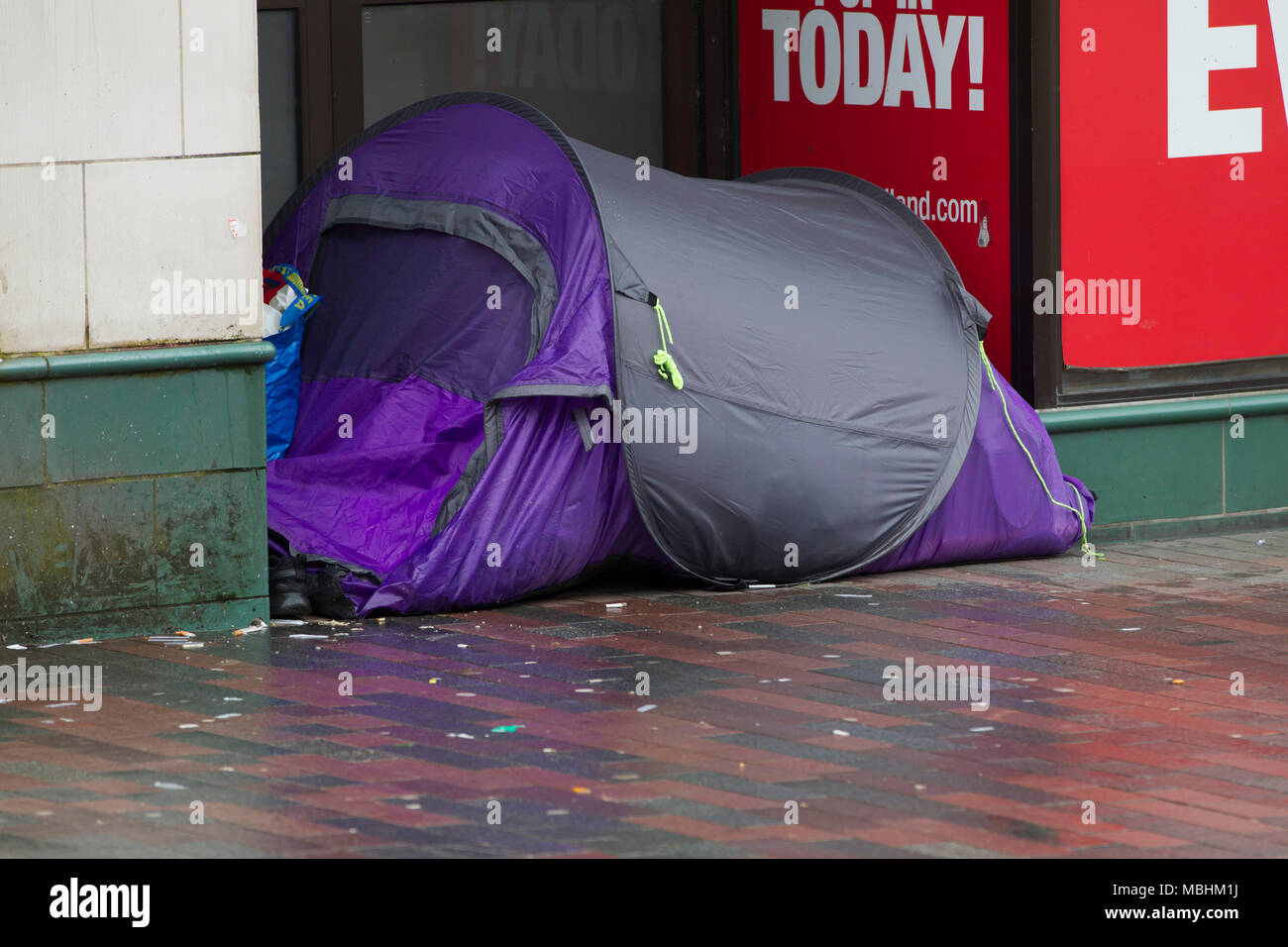 Northampton. 11th Apr, 2018. UK Weather: Another dull miserable day for the homeless having to live in a tent in Abington Street in the town centre. Credit: Keith J Smith./Alamy Live News - Stock Image