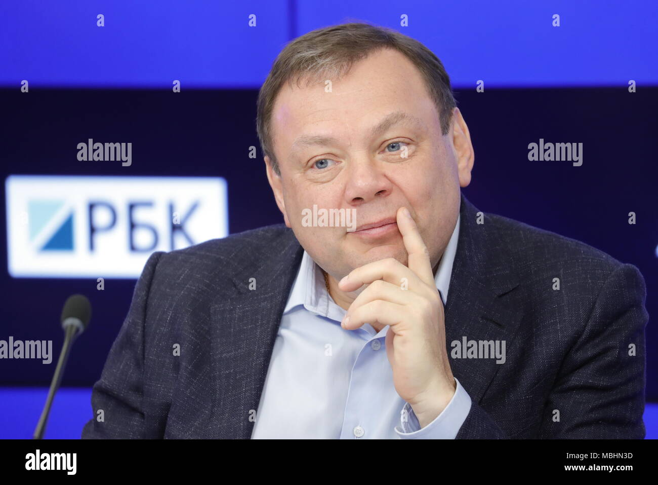 Moscow, Russia. 11th Apr, 2018. MOSCOW, RUSSIA - APRIL 11, 2018: Mikhail Fridman, chairman of the Supervisory Board at Alfa-Group, looks on during a press conference given by the organisers of the 2018 Alfa Future People festival of music and technology. Mikhail Japaridze/TASS Credit: ITAR-TASS News Agency/Alamy Live News - Stock Image