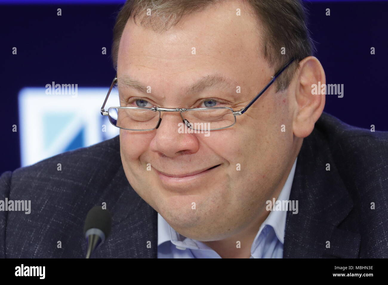 Moscow, Russia. 11th Apr, 2018. MOSCOW, RUSSIA - APRIL 11, 2018: Mikhail Fridman, chairman of the Supervisory Board at Alfa-Group, smiles during a press conference given by the organisers of the 2018 Alfa Future People festival of music and technology. Mikhail Japaridze/TASS Credit: ITAR-TASS News Agency/Alamy Live News - Stock Image