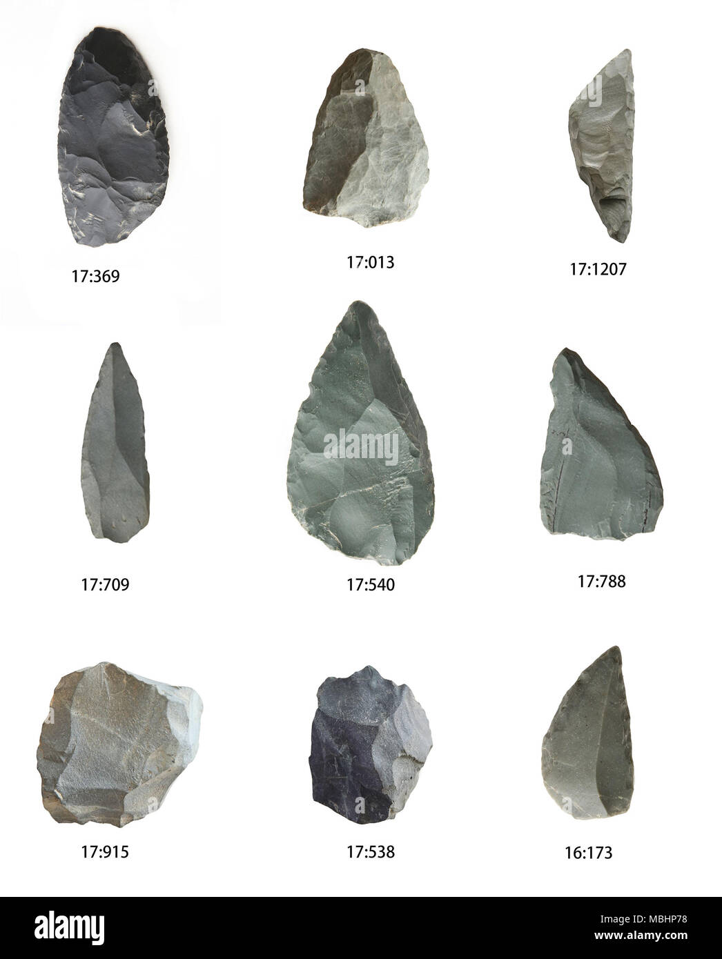 Beijing, China. 11th Apr, 2018. File photo shows a stone tool assemblage unearthed from Tongtiandong cave site in northwest China's Xinjiang Uygur Autonomous Region. It is the first Paleolithic cave site found in Xinjiang. Chinese archaeologists have selected the top 10 archaeological discoveries in China in 2017, which were published by the China Archaeological Society and a newspaper sponsored by the State Administration of Cultural Heritage on Tuesday. Credit: Xinhua/Alamy Live News - Stock Image