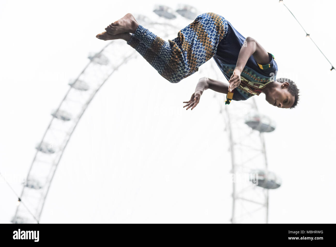London, UK. 10th April 2018. Launch performance of Circus Abyssinia: Ethiopian Dream. The headline act of the Underbelly Festival Southbank to celebrate 250 years of circus and 10 years of Underbelly on the Southbank. Credit: Guy Corbishley/Alamy Live News - Stock Image