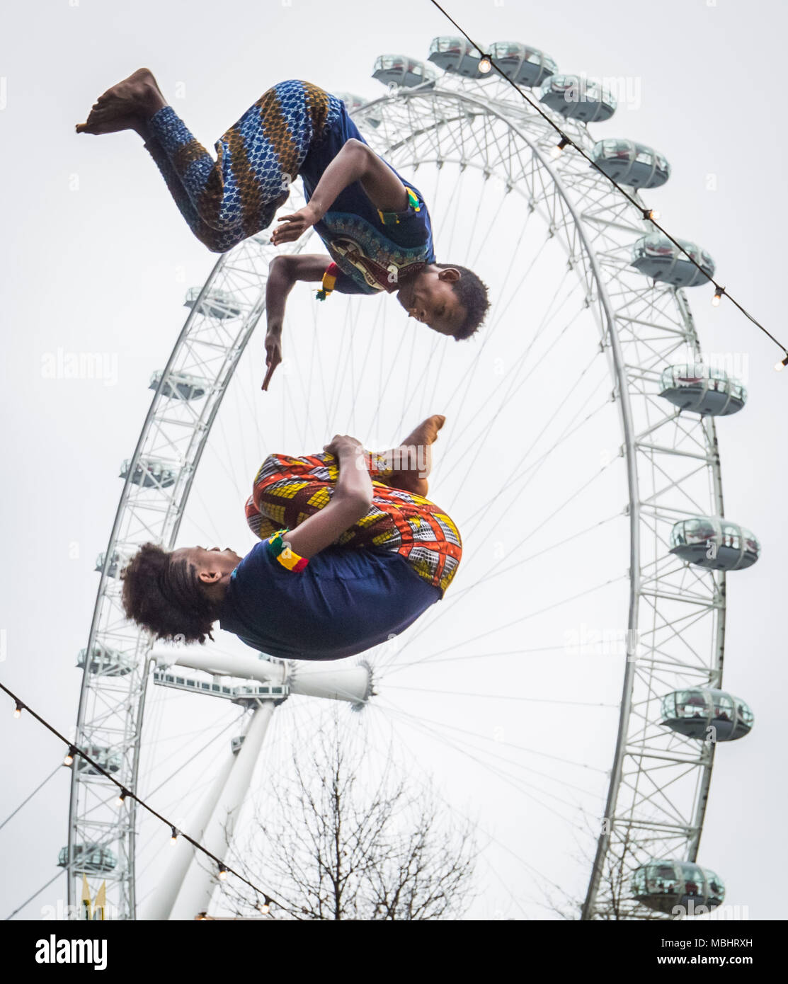 London, UK. 10th April 2018. Launch performance of Circus Abyssinia: Ethiopian Dream. The headline act of the Underbelly Festival Southbank to celebrate 250 years of circus and 10 years of Underbelly on the Southbank. Credit: Guy Corbishley/Alamy Live News Stock Photo