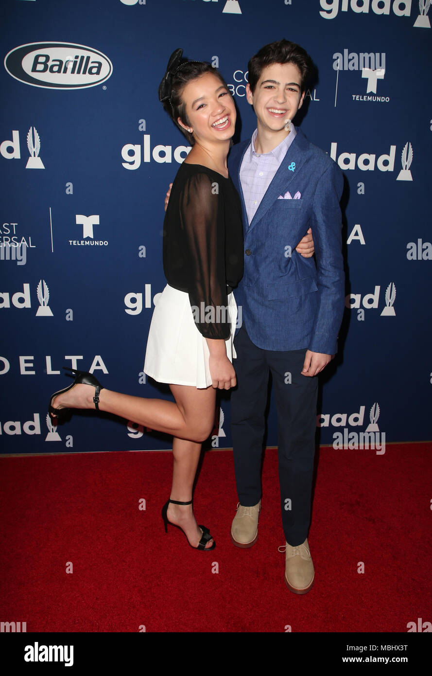 Beverly Hills, Ca. 11th Apr, 2018. Peyton Elizabeth Lee and Joshua Rush at the GLAAD Media Awards Rising Stars Luncheon at the The Beverly Hilton in Beverly Hills, California on April 11, 2018. Credit: Faye Sadou/Media Punch/Alamy Live News - Stock Image