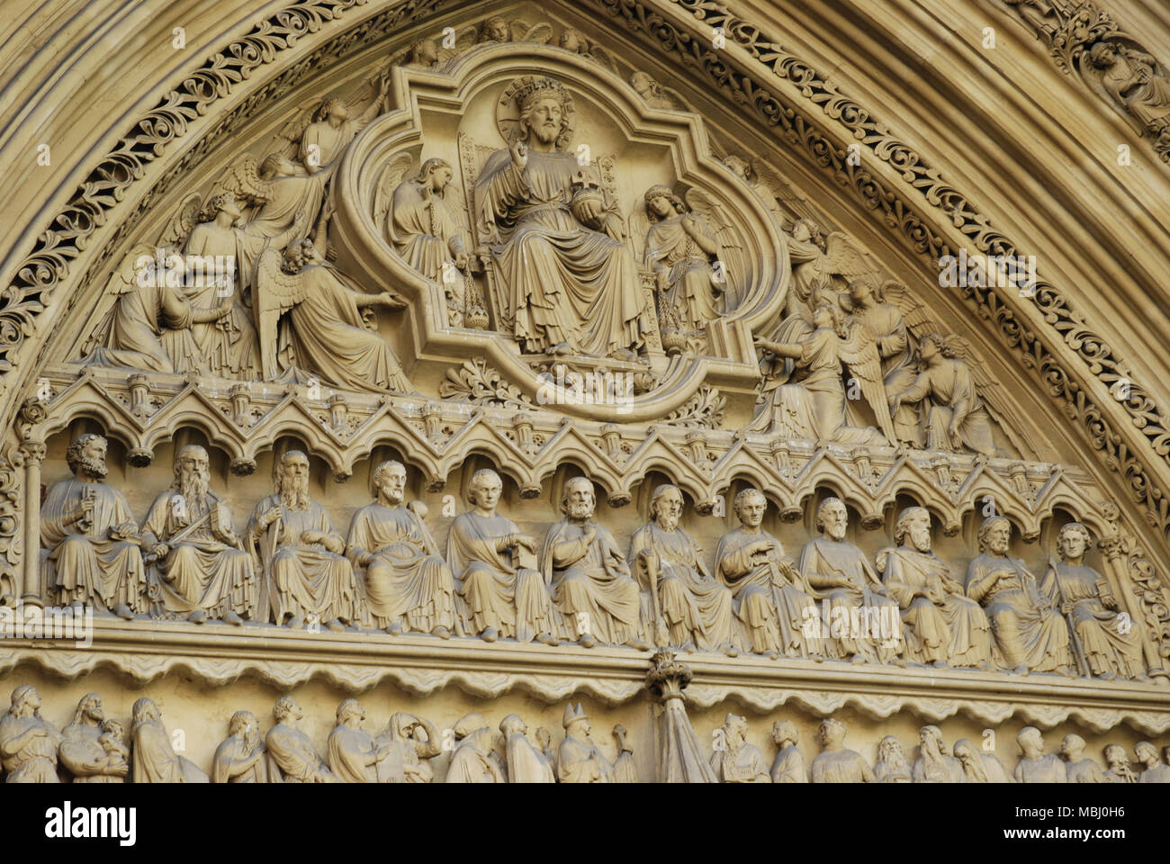 Tympanum facade above the North/Main Entrance of Westminster Abbey Stock Photo