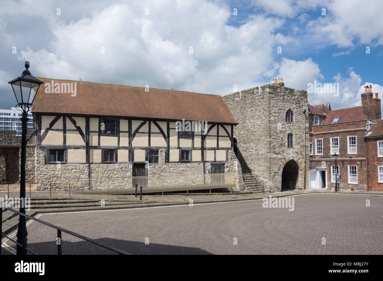 15th century Westgate Hall, Westgate Street, Old Town, Southampton, Hampshire, England, United Kingdom - Stock Image