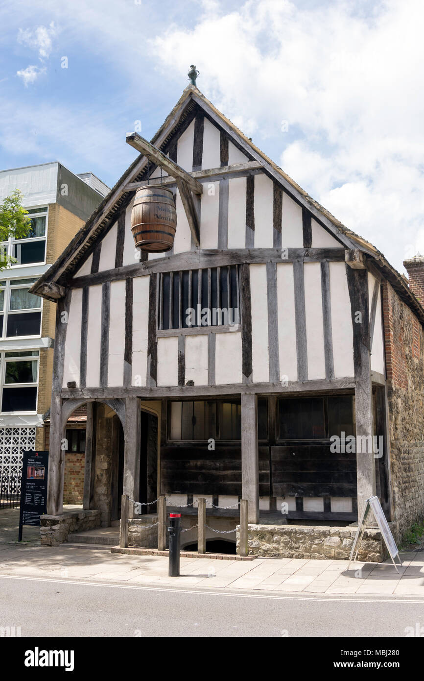 13th century Medieval Merchant's House, French Street, Old Town, Southampton, Hampshire, England, United Kingdom - Stock Image