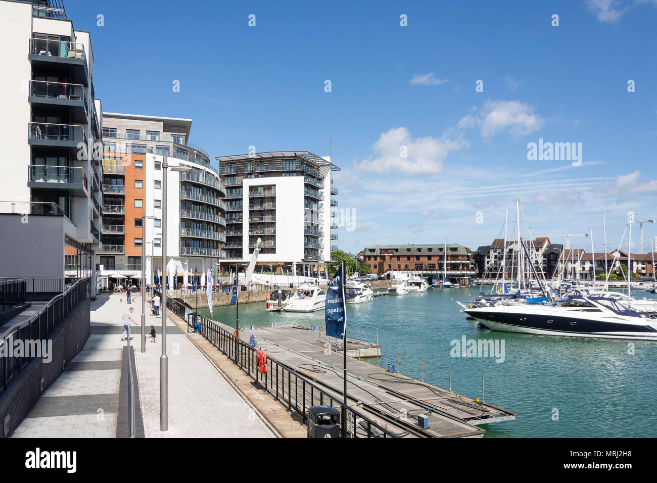Quayside at Ocean Village Marina, Southampton, Hampshire, England, United Kingdom - Stock Image