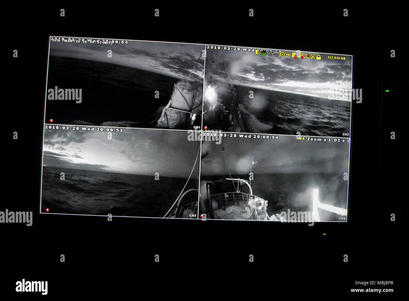 The images recorded around the boat by the security cameras