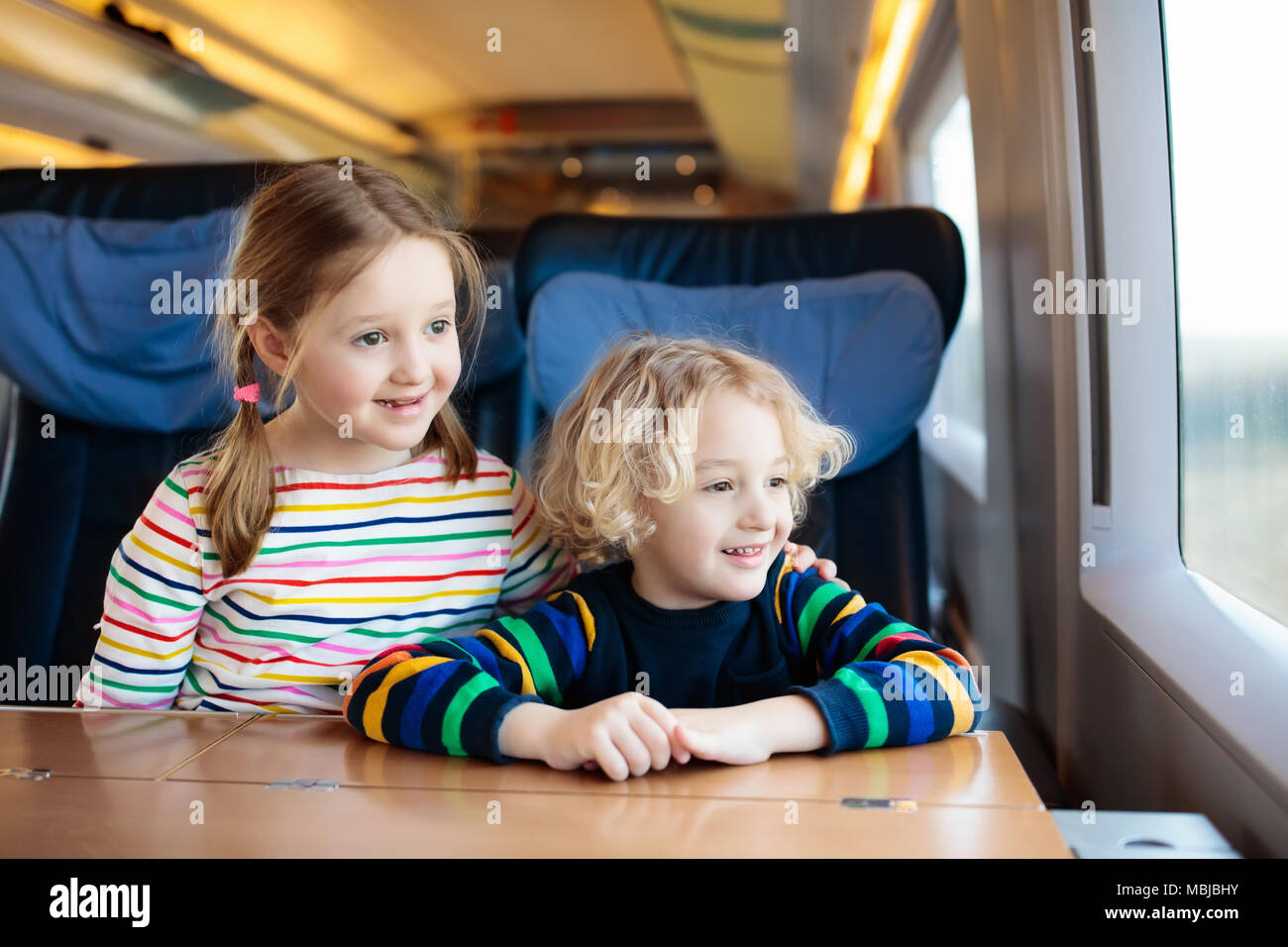 Child Traveling By Train Little Kid In A High Speed Express Train On Family Vacation In Europe Travel By Railway Children In Railroad Car Kids In Stock Photo Alamy