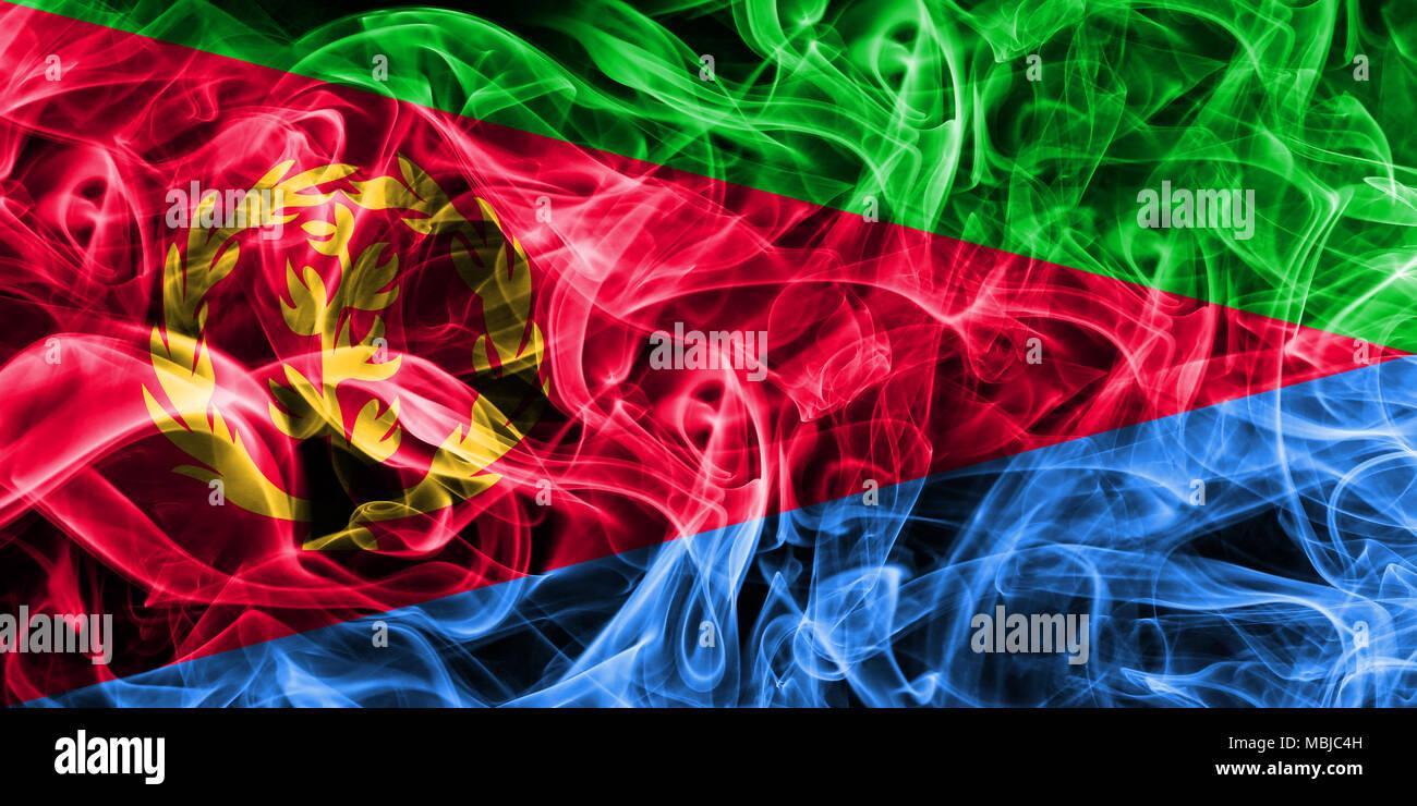 Eritrea smoke flag Stock Photo