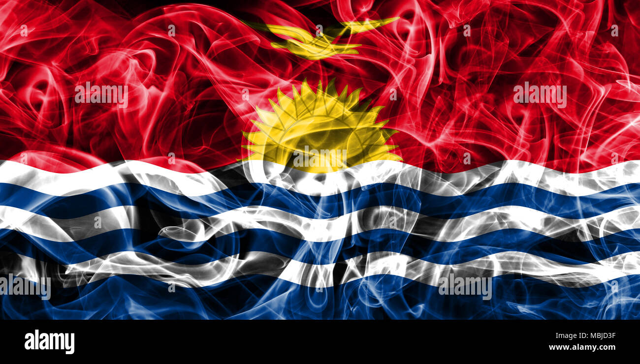 Kiribati smoke flag Stock Photo
