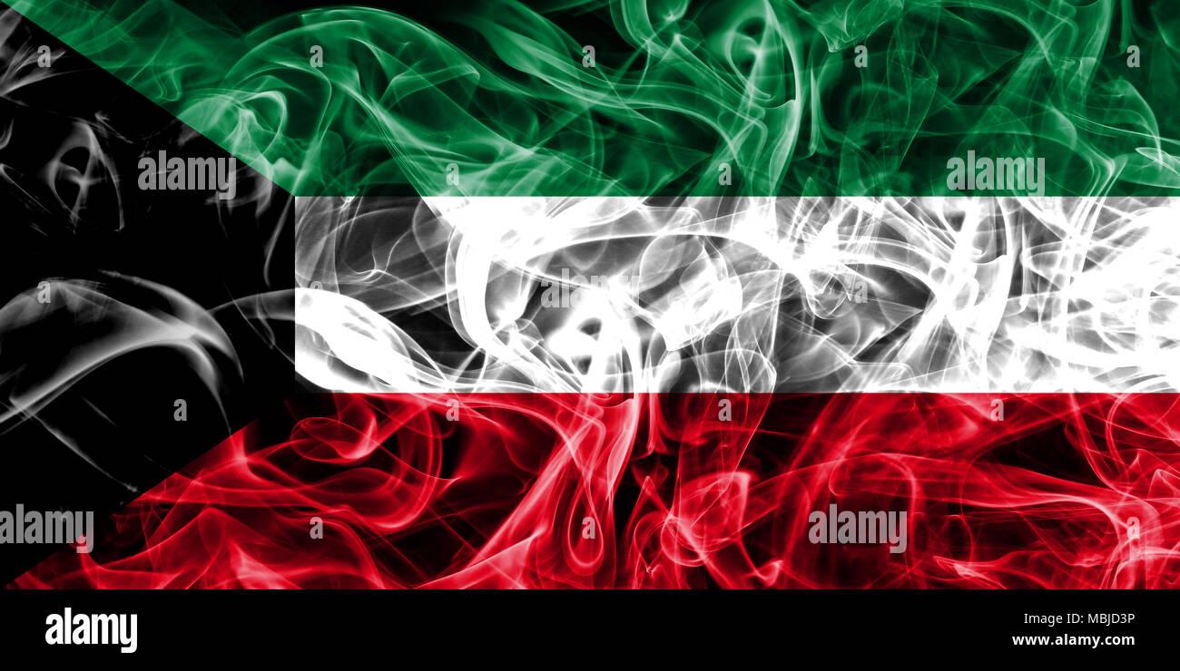 Kuwait smoke flag - Stock Image