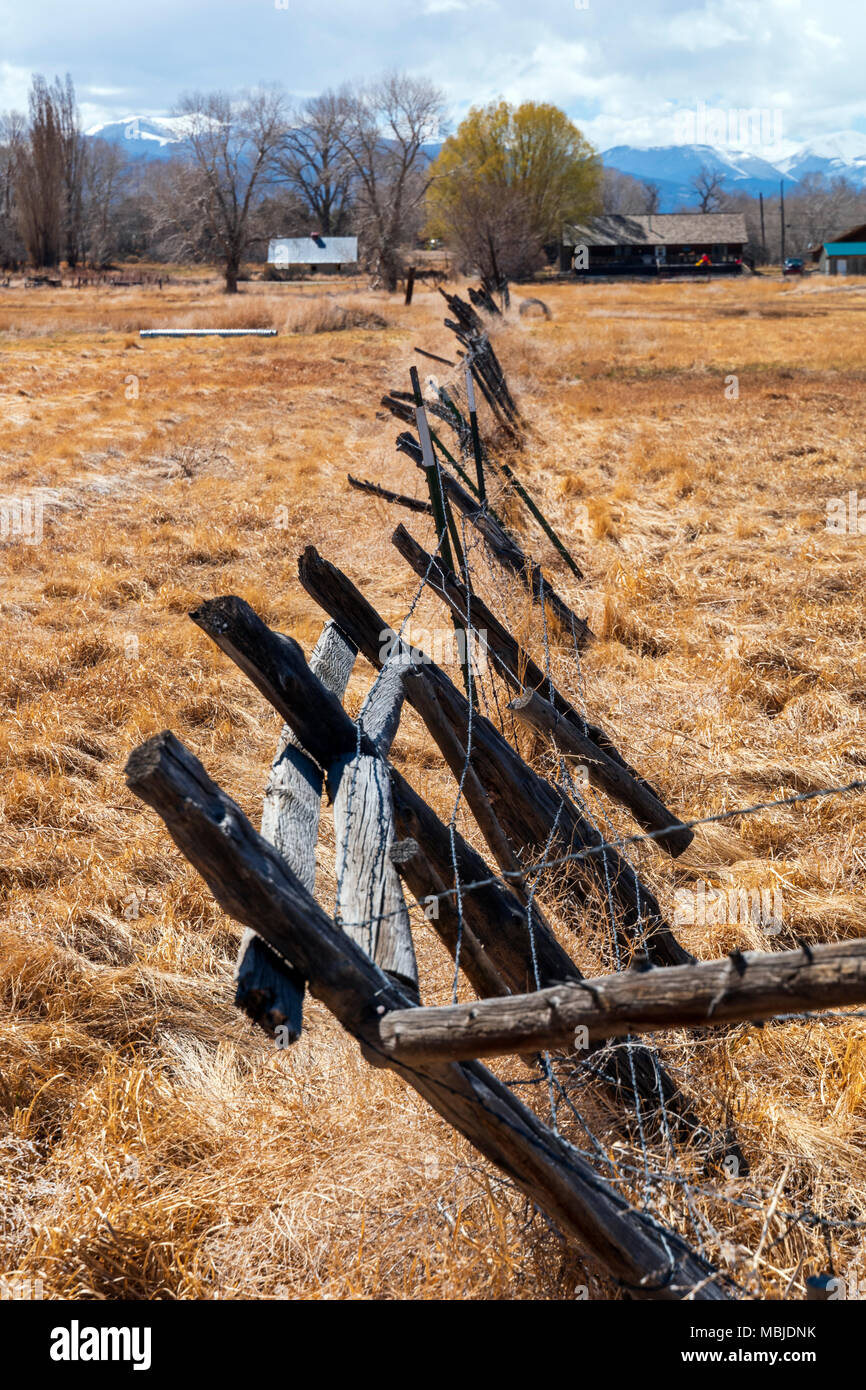 Pasture, barbed wire fence & Rocky Mountains beyond; Vandaveer Ranch; Salida; Colorado; USA - Stock Image