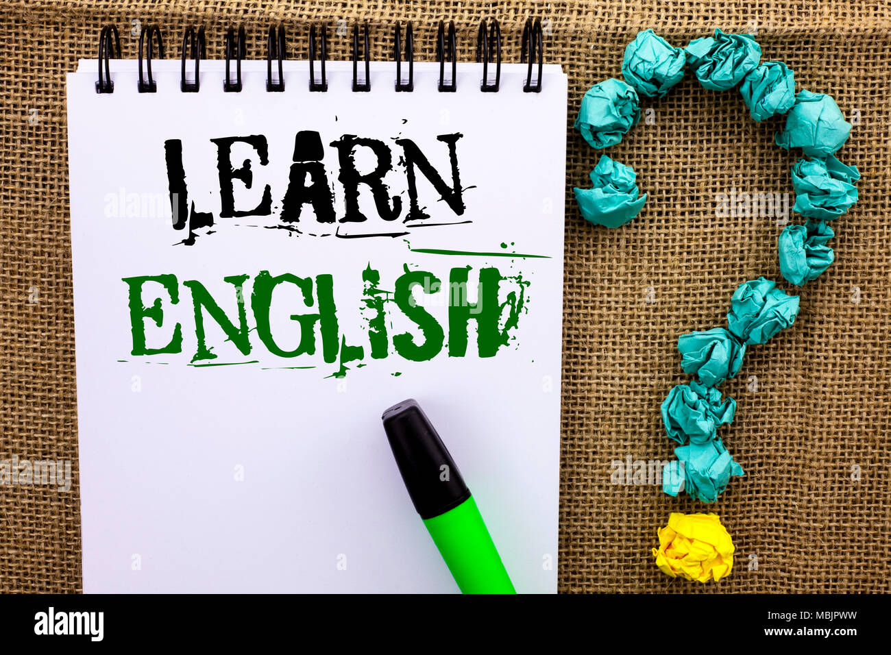 Writing note showing Learn English  Business photo showcasing Study