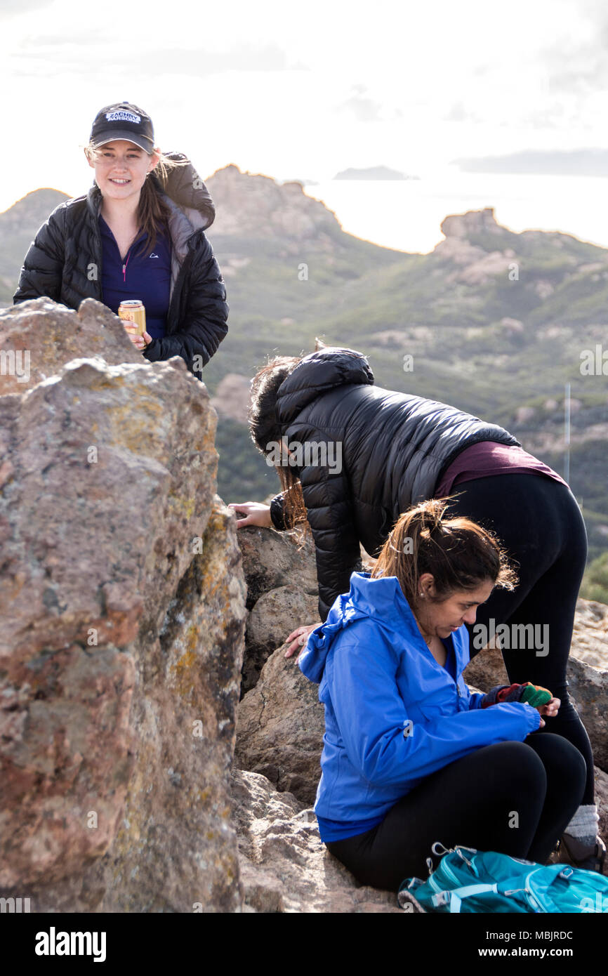 Hiking and camping in the Santa Monica Mountains of California, USA - Stock Image