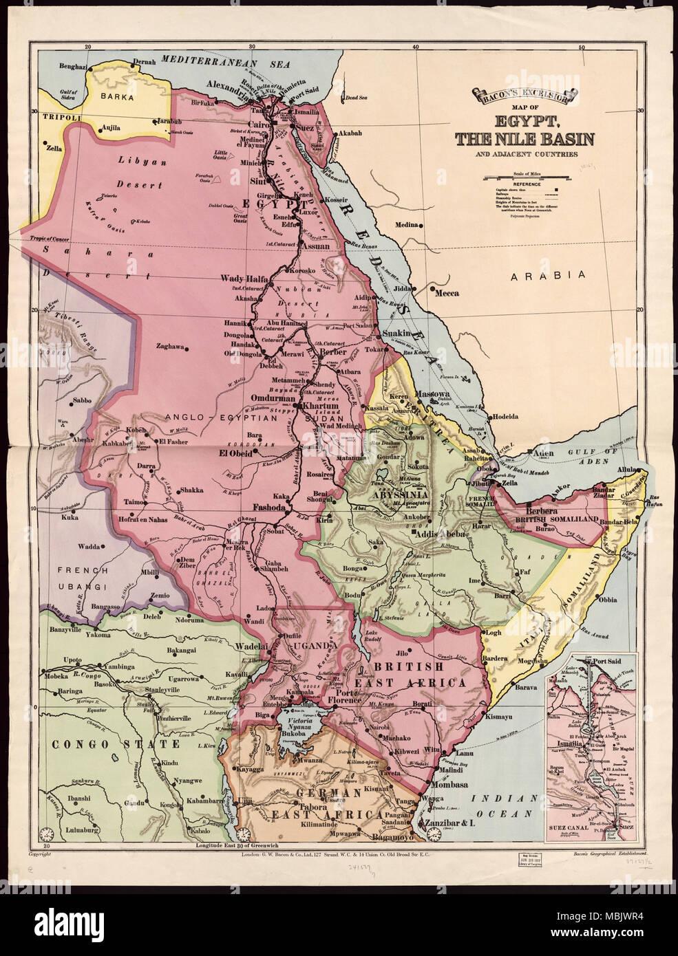 Nile Basin - 1916 - Stock Image