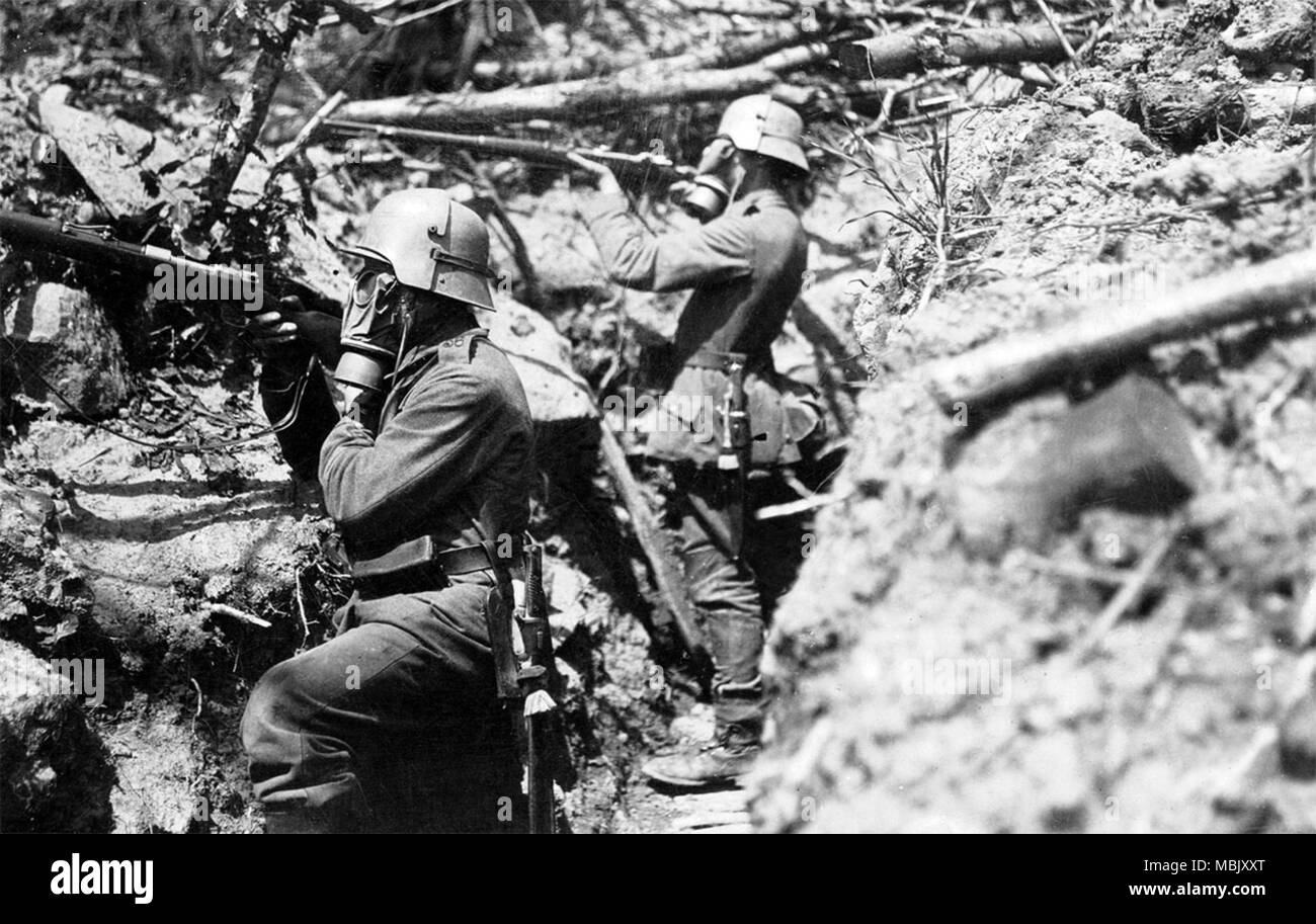 German Communications Infantry in Trenches - Stock Image