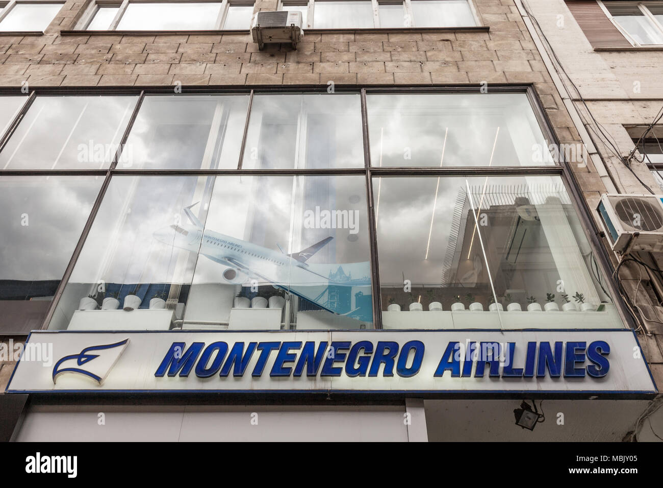 BELGRADE, SERBIA - MARCH 31, 2018: Montenegro Airlines logo on their main office for Serbia. Montenegro Airlines is the national air carrier of Monten Stock Photo