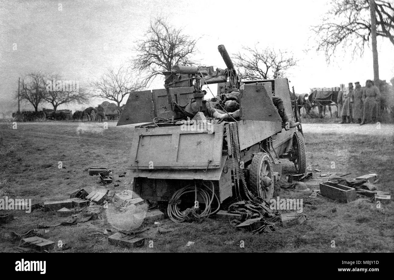Destroyed British Anti- Aircraft - Stock Image