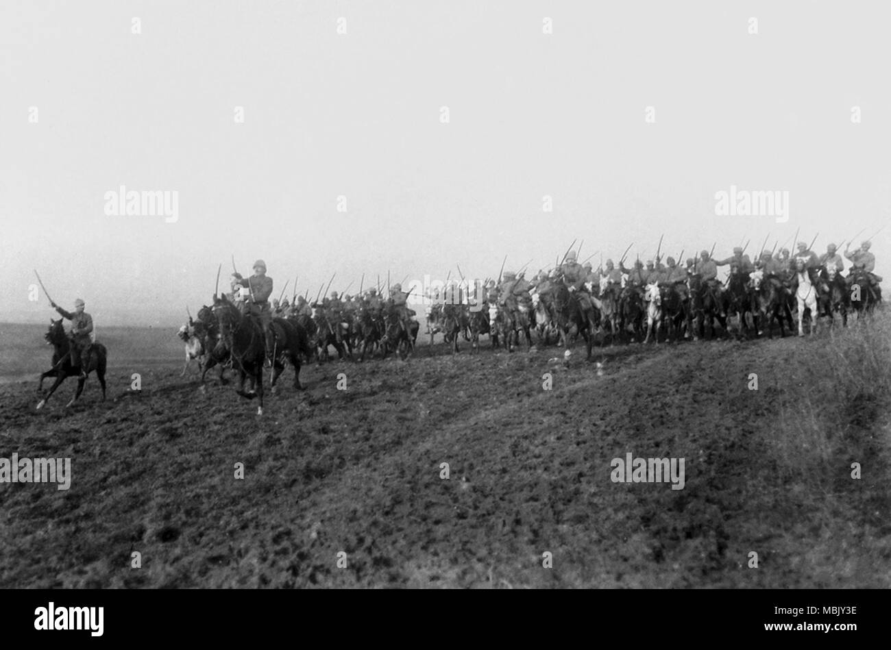Turk Cavalry Charges in Greece - Stock Image