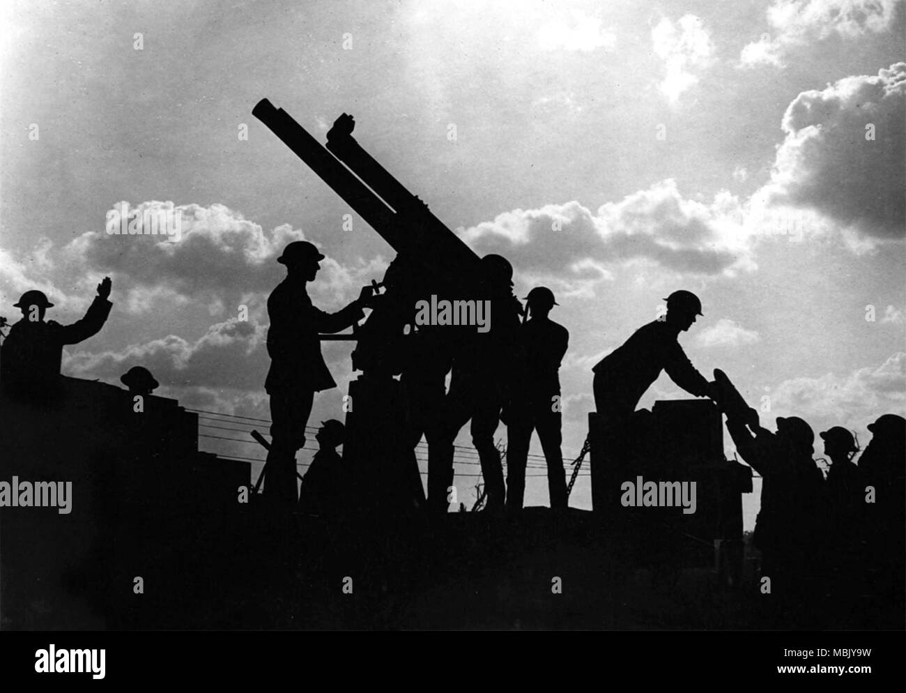 Silhouetted Artillery - Stock Image