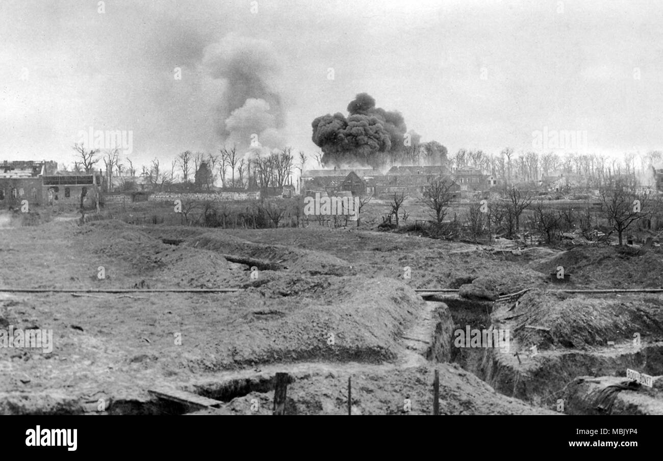 Conflagration on  the Front Lines - Stock Image