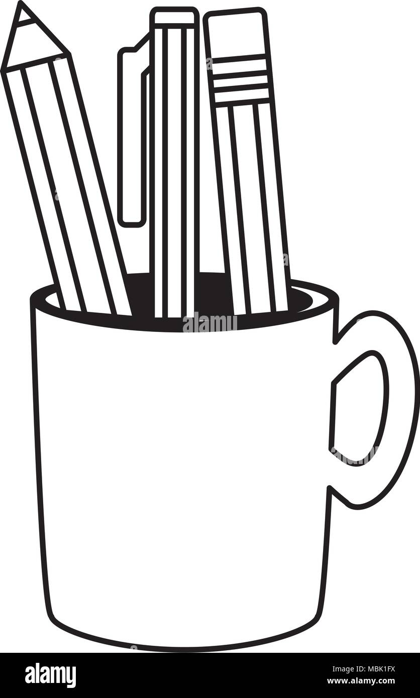 Pencil holder with writing tools icon over white background