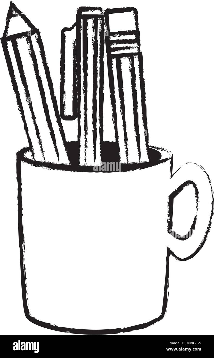 Sketch of pencil holder with writing tools icon over white background vector illustration