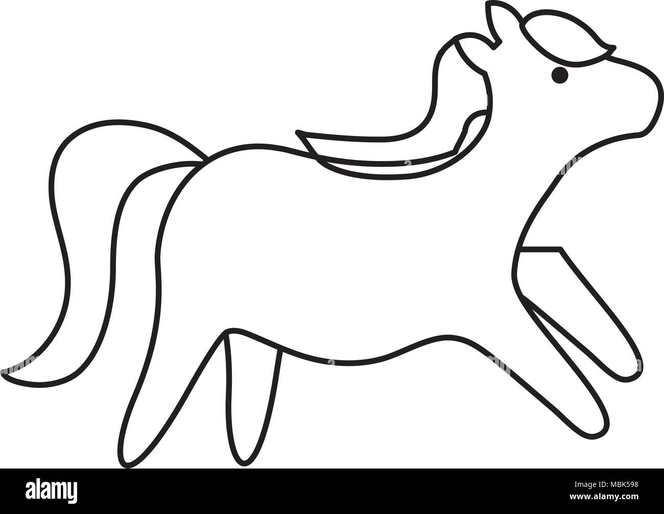 cute horse over white background, vector illustration - Stock Image