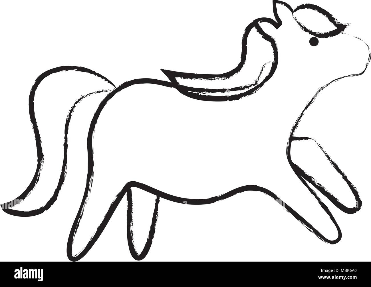 sketch of cute horse over white background, vector illustration - Stock Image