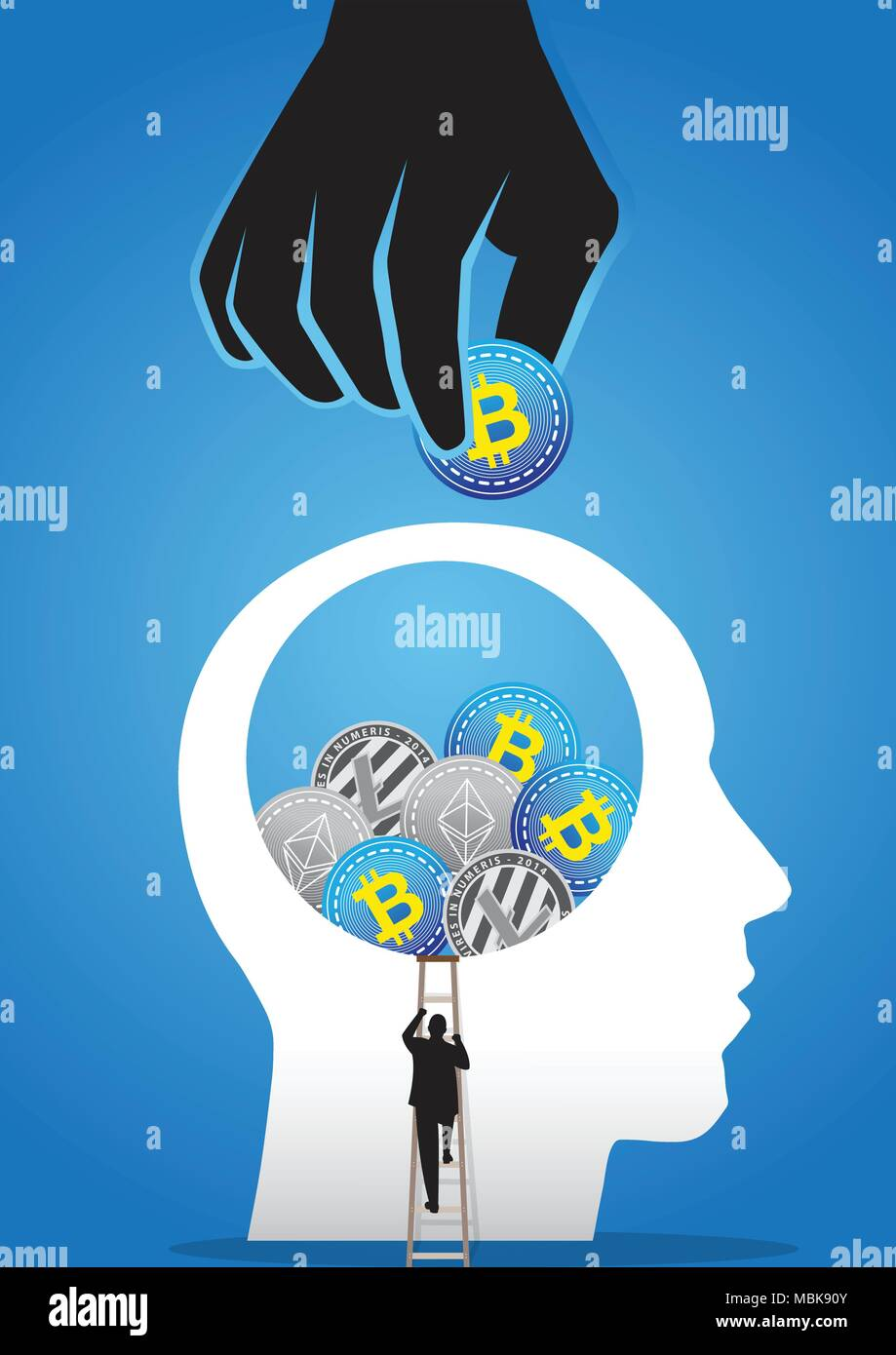 An illustration of businessman climbing up to giant head full with crypto coins - Stock Image