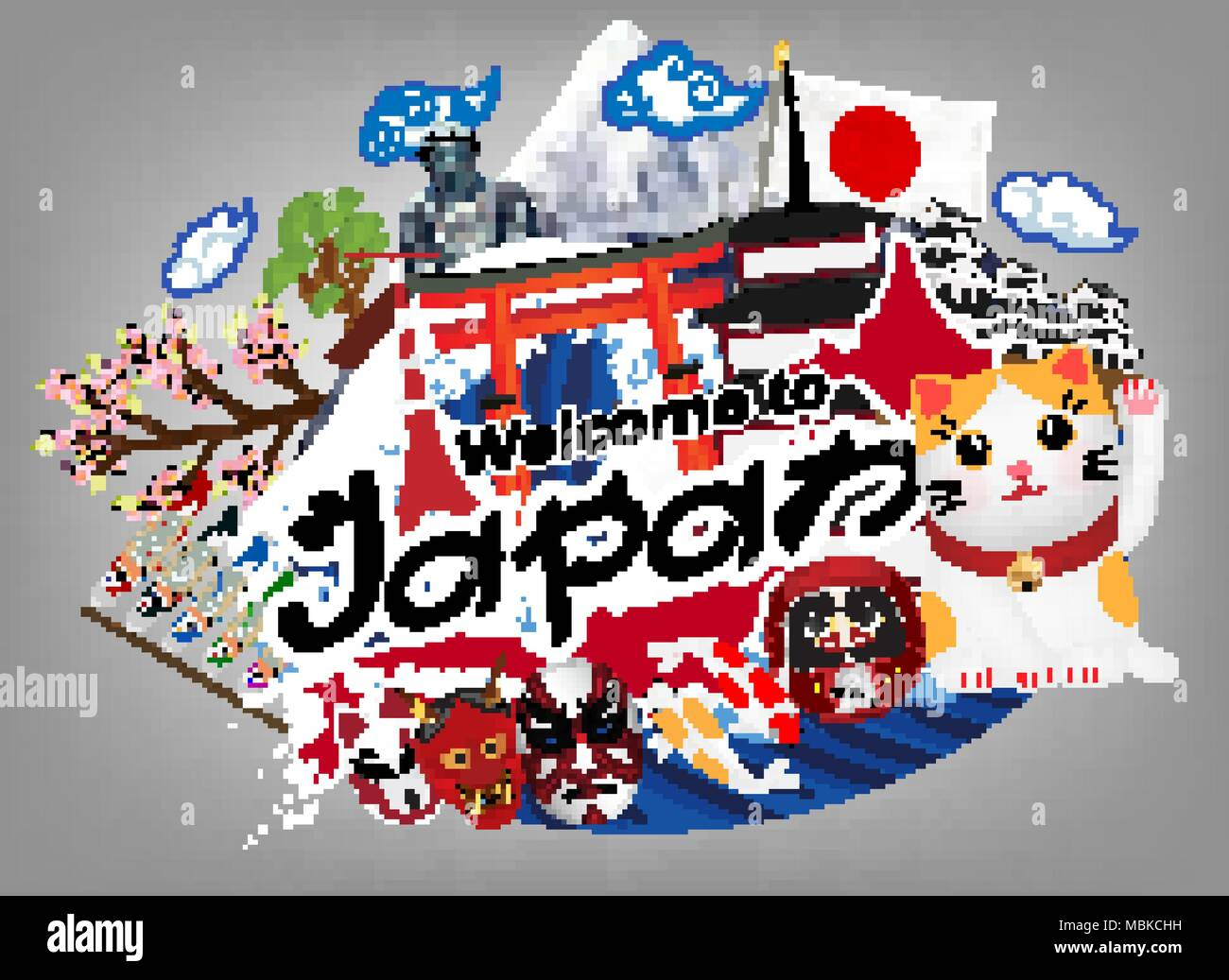 welcome to japan logo with japan object & landmark - Stock Vector